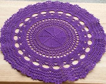 Crochet doily, Home decor, crochet table topper, purple handmade doily, wedding decor, crochet centerpiece, round doily, wedding table decor