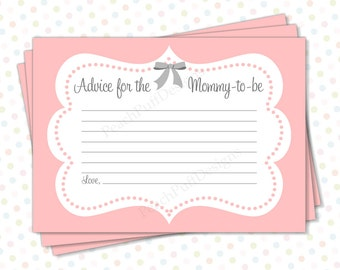 baby shower advice cards pink instant download advice for mommy to be