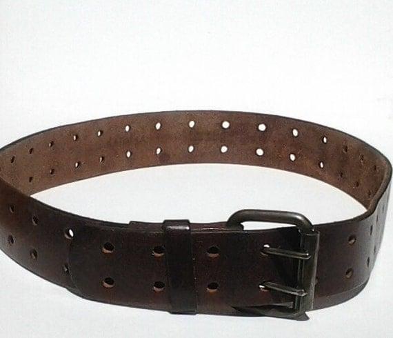 vintage leather mahogany coloured leather belt