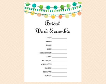 Bridal Word Scramble, Unscramble, Bridal Shower Scramble Game, Emerald Bridal Shower Game Printables, Bachelorette, Wedding Shower Game BS45