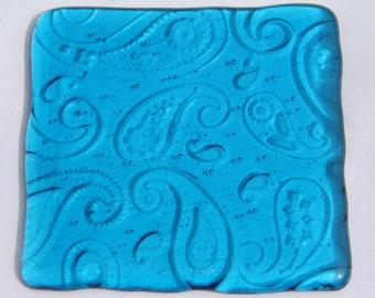 2 turquoise textured glass coasters, paisley pattern