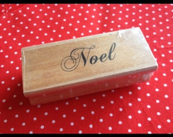Noel Christmas Rubber Stamp Mounted on wooden block- Ideal for Christmas crafts