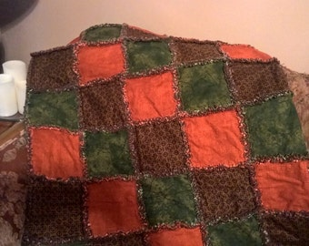 Rag Quilt, Handmade Quilt, Handmade Rag Quilt,Rustic Rag Quilt, Quilted Throw, Earth Tone Quilt, Cotton Rag Quilt, Handmade Throw