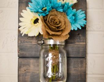 Rustic Mason Jar Wall Sconce, Wall Vase, Wedding Decor, Reclaimed Woodworking