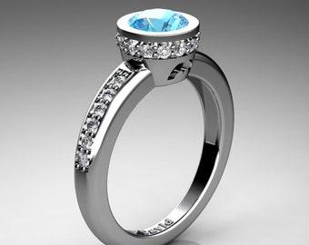 Classic 14K White Gold 1 Carat Blue Topaz Diamond Solitaire Engagement Ring R1011-14KWGDBT