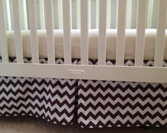Brown Chevron Crib Skirt with Pleat
