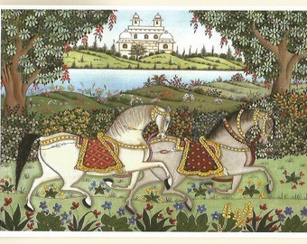 Horses. Fine art card.