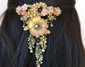 MY FAIR LADY hanging handbeaded barette by Colleen Toland
