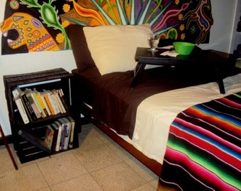 Extra Large Authentique Mexican Serape Saltillo Blanket. Handmade on a loom. Directly from México