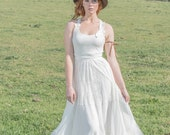 Hippie Wedding Dress Backless w/ Three-Tiered Lace, Chiffon, Tulle Skirt, Wraparound Straps, Embroidered Lace Embellishment