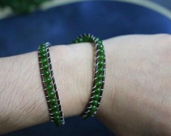 Leather Wrap Bracelet - Green Jade, Yoga Bracelet