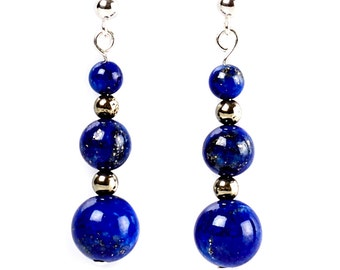 Persia - earrings of lapis lazuli, pyrite and sterling silver