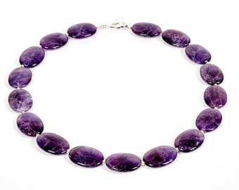 """Empress - 18"""" necklace of amethyst and sterling silver"""
