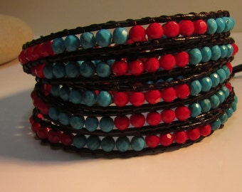 Red & Turquoise Leather Wrap Bracelet