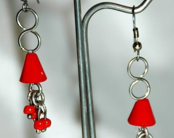 Vintage Red Czech Glass Dangle Earrings Hand Crafted One of Kind