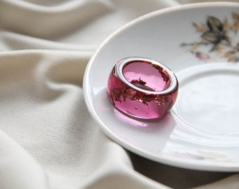 Marsala Resin Ring, Epoxy Ring, Resin Ring With Gold Flakes