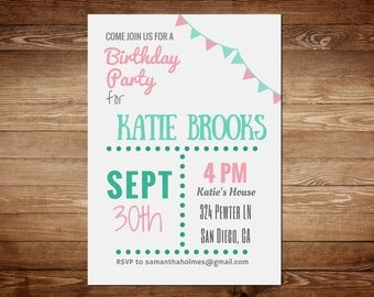 Party Invitation Template - Birthday Party Invitation Templates - Printable Invitation Templates