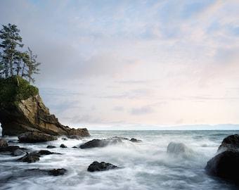 Landscape Photograph,Nature Photography,Metal Print,Cape Flattery,Pacific Northwest Photo,Large Wall Art,Blue,Purple,Ocean,Washington State
