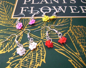 SALE: Lego Flower Earrings, Pink Colour, Red Colour, White Colour, Yellow Colour, Sterling Silver Hoops, Fun Lego Jewelry, Gift Boxed