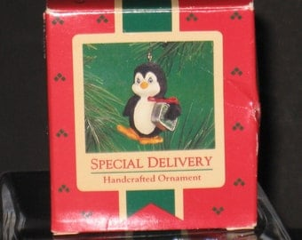 "Vintage Hallmark Handcrafted Ornament - Penguin on a ""Special Delivery""! 1986! QX4156"