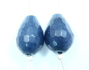 1 Pair Natural Blue Jade Focal Briolette Gemstone Straight Drilled Faceted Tear Shape Size - 10x14mm