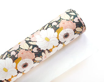 Floral Wrapping Paper - Dark - Floral Gift Wrap - 3 Sheets