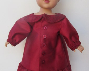 Deep red summer coat with beret 18inch American Doll Clothes