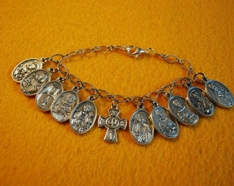Beautiful Bracelet of Relic Saint Medals  - 11 Catholic Medals on Bracelet