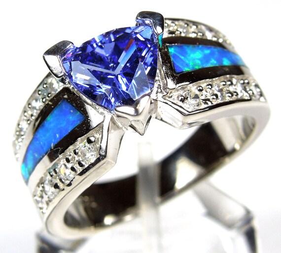Trillion Cut Tanzanite Amp Blue Fire Opal Inlay 925 Sterling