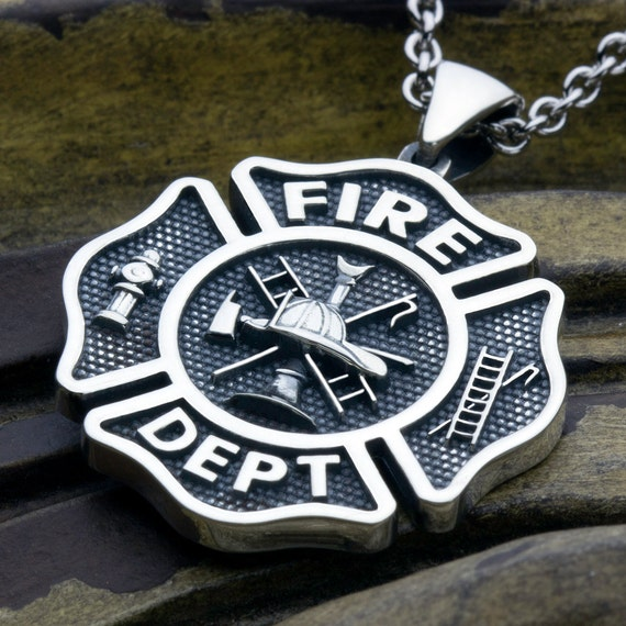 Fire Department Maltese Cross Necklace: LARGE Maltese Cross Fire Department Sterling Silver Necklace
