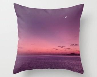 Purple pillow, purple cushion, ocean, sunset, purple decor, throw pillow, pillow cover, cushion cover, photography, unique, wanderlust
