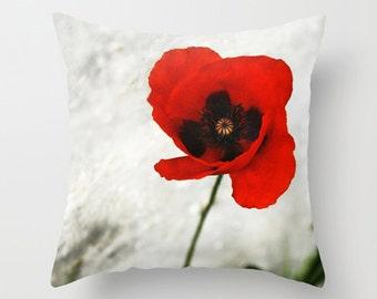 Poppy pillow, poppy cushion, flower cushion, flower pillow, throw pillow, pillow cover, photography pillow, photography cushion, red & white