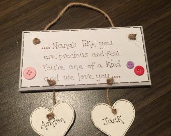 nanny/nana/grandma precious and few plaque