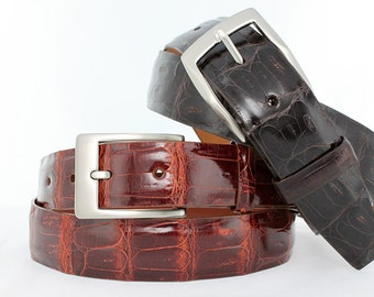 Authentic, Genuine Caiman Crocodile Belt With Glossy Finish