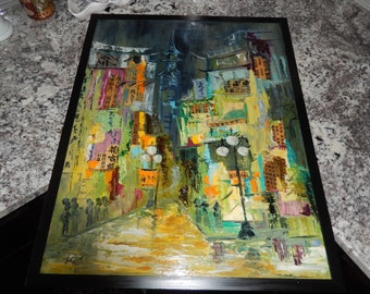 CHINA MID CENTURY Painting Signed Lois 1967