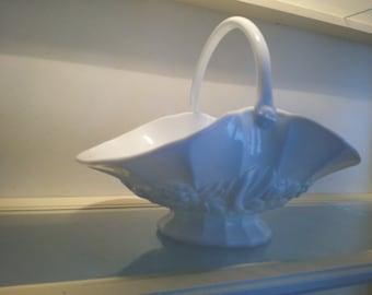 Milk glass basket, white, Vintage collectible