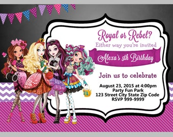 Ever After High Birthday Invitation 4x6 or 5x7