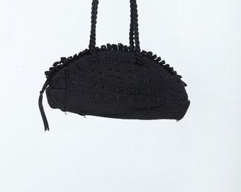 vintage black loop boxy handbag