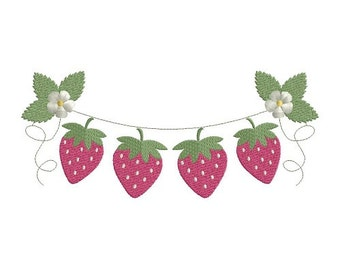 Strawberries garland machine embroidery design