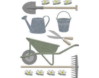 Gardening Tools machine embroidery design