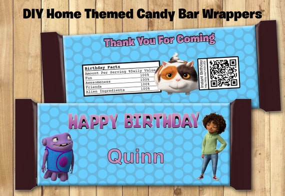 Home Candy Bar Wrappers - Download Customize Print - 3 Home Movie Chocolate Bar Wrappers Dreamworks Home Chocolate Bar Wraps 1.5 oz (43g)