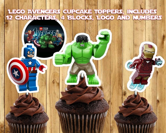 Printable Lego Avengers Cupcake Toppers - Download Customize Print - Lego Avengers Cake Toppers - Lego Avengers Birthday Decoration