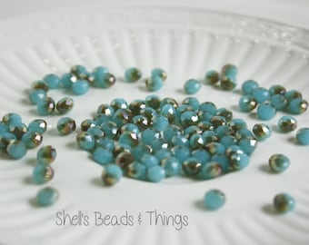 6mm Rondelle, Czech Glass Beads, Turquoise Beads, Faceted Beads, Blue Beads, Gold Beads, Jewelry Making Supply - 1 Strand = 100 Beads