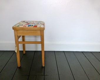 Upcycled Vintage Stool with Sewing Fabric Seat