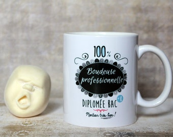 "Mug ""100% bohitile professional, graduate bac + 8"". Customizable Cup. Text and graphics by PIOU creations. Made in France"