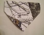 Mossy Oak, Winter Camo, Dog Bandana, Personalized,  Monogrammed, Over the Collar, Dog Bandana