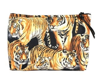 "7"" Bengal Tiger fabric cosmetic bag/pouch"