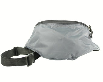 Fanny pack Gunmetal Grey Nylon  - Hip Bag with 2 zippered compartments