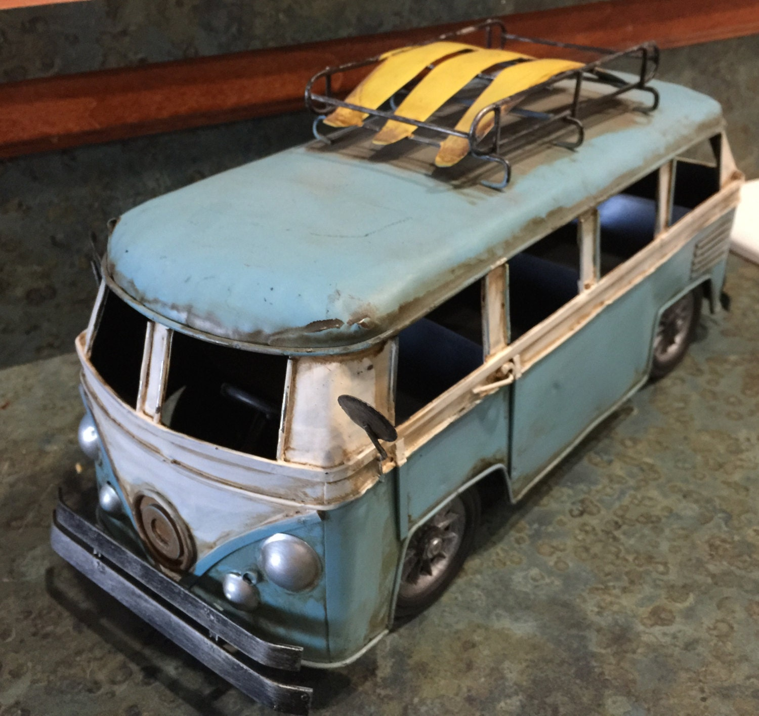 Where Can I Buy A Volkswagen Bus: Vintage Metal VW Micro Bus Toy With Surf Boards On Top