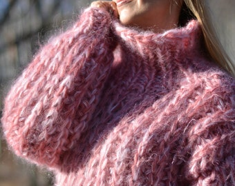 ORDER handmade mohair sweater hand knitted chunky crewneck fuzzy mohair pullover thick mohair sweater PINK warm winter mohair jumper Dukyana